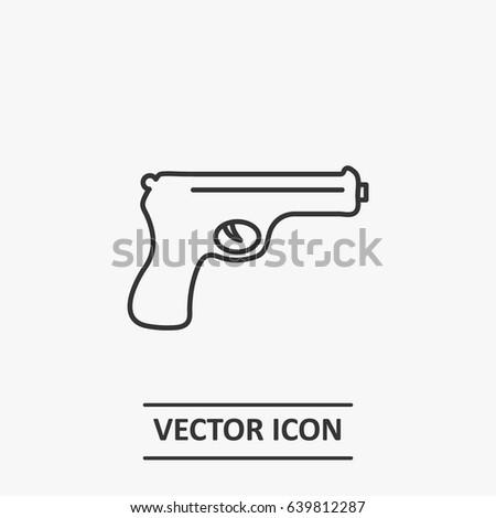 Outline Pistol Icon Illustration Vector Symbol Stock Vector Royalty
