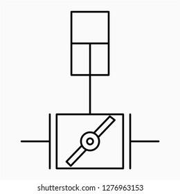 Outline piston damper symbol vector icon