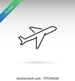 Outline plane flat icon isolated on white background. Airplane pictogram. Line plane symbol for website design, mobile application, ui.