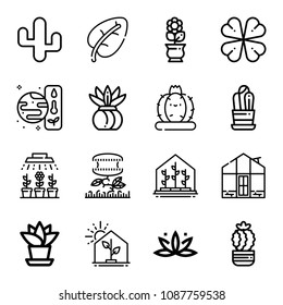 Outline plant icon set such as greenhouse, spa, resources, cactus, carnivorous plant, illumination, plant, clover, flower