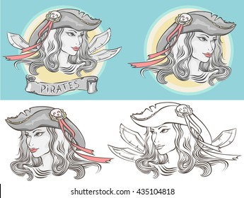Outline portrait of a girl-pirate in different versions