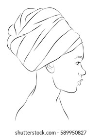 Outline portrait of woman in turban. Vector illustration
