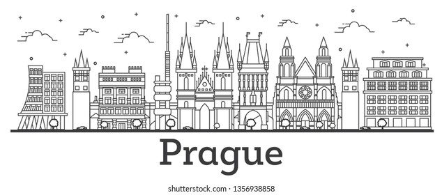 Outline Prague Czech Republic City Skyline with Historic Buildings Isolated on White. Vector Illustration. Prague Cityscape with Landmarks.
