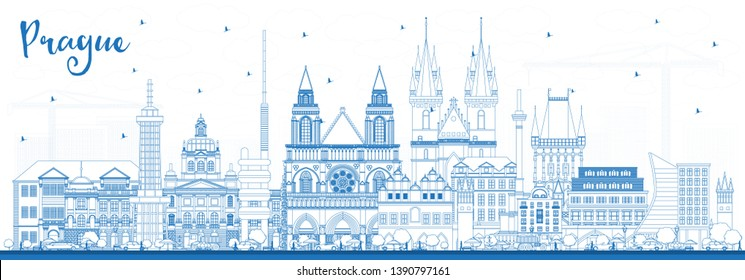 Outline Prague Czech Republic City Skyline with Blue Buildings. Vector Illustration. Business Travel and Tourism Concept with Historic Architecture. Prague Cityscape with Landmarks.