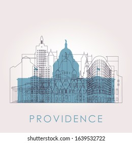 Outline Providence skyline with landmarks. Vector illustration. Business travel and tourism concept with historic buildings. Image for presentation, banner, placard and web site.