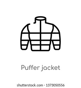 outline puffer jacket vector icon. isolated black simple line element illustration from clothes concept. editable vector stroke puffer jacket icon on white background