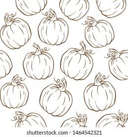 Outline Pumpkin harvest festival pattern