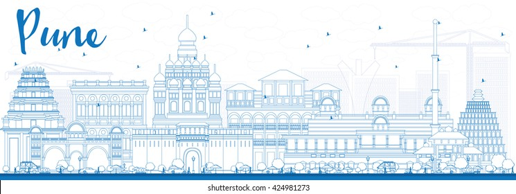 Outline Pune Skyline with Blue Buildings. Vector Illustration. Business Travel and Tourism Concept with Historic Buildings. Image for Presentation Banner Placard and Web Site.