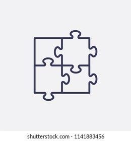 Outline puzzle icon illustration,vector game sign symbol