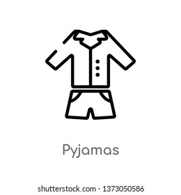 outline pyjamas vector icon. isolated black simple line element illustration from clothes concept. editable vector stroke pyjamas icon on white background