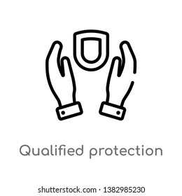 outline qualified protection vector icon. isolated black simple line element illustration from law and justice concept. editable vector stroke qualified protection icon on white background