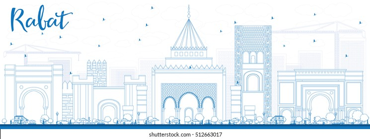 Outline Rabat Skyline with Blue Buildings. Vector Illustration. Business Travel and Tourism Concept with Historic Architecture. Image for Presentation Banner Placard and Web Site.