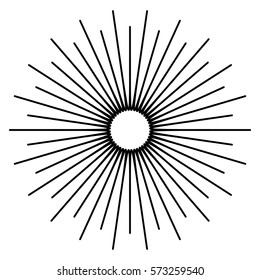 Outline of radial, radiating geometric element. Abstract shape.