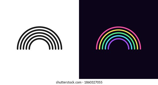 Outline rainbow icon with editable stroke. Linear arch sign, black rainbow. Bright rainbow arc silhouette. Vector icon, sign, symbol for Graphic design and Animation