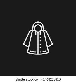 Outline raincoat vector icon. Raincoat illustration for web, mobile apps, design. Raincoat vector symbol.