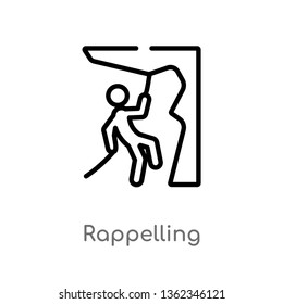 outline rappelling vector icon. isolated black simple line element illustration from activity and hobbies concept. editable vector stroke rappelling icon on white background