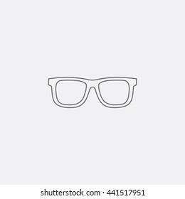 Outline of Ray Ban sunglasses icon vector, Gray eyeglasses image