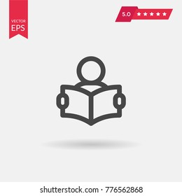 Outline Reading Icon isolated on grey background. Line Person reading a book symbol for web site design, logo, app, UI. Editable stroke. Vector illustration. Eps10
