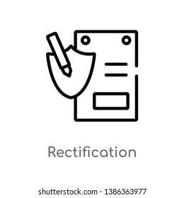outline rectification vector icon. isolated black simple line element illustration from gdpr concept. editable vector stroke rectification icon on white background