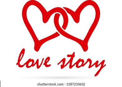 outline red heart isolated on white, love story, hand drawing icon, doodle stile, vector illustration