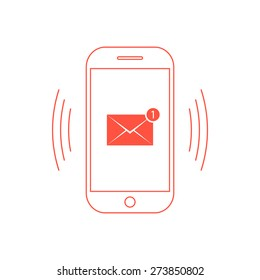 outline red smartphone with one email icon. concept of spam, service, marketing, mailing, announcement, reminder. isolated on white background. flat style trendy modern design vector illustration
