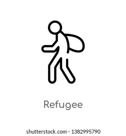 outline refugee vector icon. isolated black simple line element illustration from miscellaneous concept. editable vector stroke refugee icon on white background