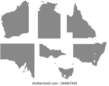 An Outline with regions of the Country of Australia