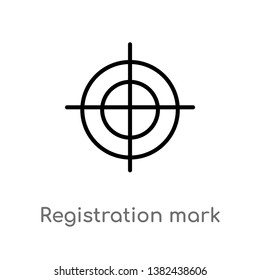 outline registration mark vector icon. isolated black simple line element illustration from edit tools concept. editable vector stroke registration mark icon on white background