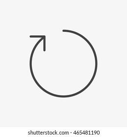 Outline restart icon isolated on grey background. Line refresh symbol for website design, mobile application, ui. Vector illustration, eps10.