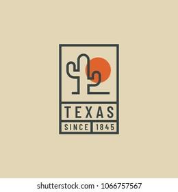 Outline retro cactus emblem. Hipster logo of wild traveling in the desert.