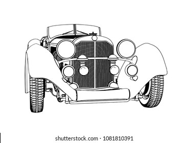 outline of a retro car