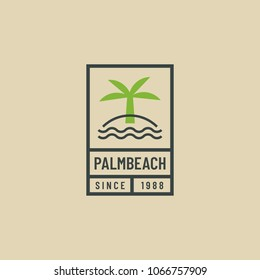 Outline retro logo of palm tree. Hipster emblem for beach lovers. Vacation and travel concept.