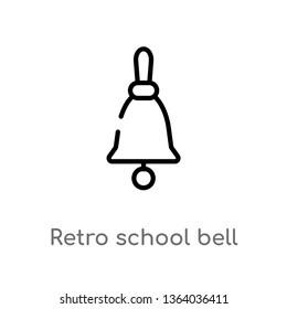 outline retro school bell vector icon. isolated black simple line element illustration from music concept. editable vector stroke retro school bell icon on white background