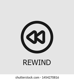 Outline rewind vector icon. Rewind illustration for web, mobile apps, design. Rewind vector symbol.