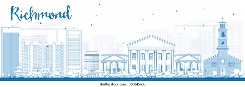 Outline Richmond (Virginia) Skyline with Blue Buildings. Vector Illustration. Business Travel and Tourism Conceptwith Modern Buildings. Image for Presentation, Banner, Placard and Web Site.