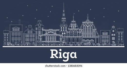 Outline Riga Latvia City Skyline with White Buildings. Vector Illustration. Business Travel and Concept with Historic Architecture. Riga Cityscape with Landmarks.