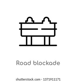 outline road blockade vector icon. isolated black simple line element illustration from alert concept. editable vector stroke road blockade icon on white background