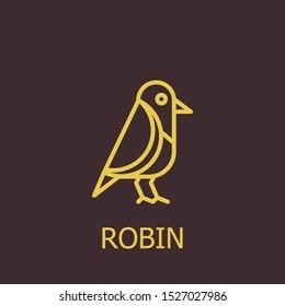 Outline robin vector icon. Robin illustration for web, mobile apps, design. Robin vector symbol.
