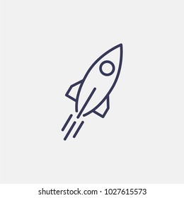 Outline rocket icon illustration isolated vector sign symbol