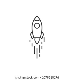 Outline rocket ship with fire. Isolated on white. Flat line icon. Vector illustration with flying rocket. Space travel. Project start up sign. Creative idea symbol. Black and white.