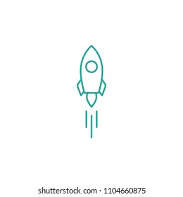 Outline rocket ship with fire. Isolated on white. Flat line icon. Vector illustration with flying rocket. Space travel. Project start up sign. Creative idea symbol. Blue and white.