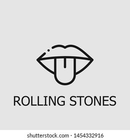 Outline rolling stones vector icon. Rolling stones illustration for web, mobile apps, design. Rolling stones vector symbol.