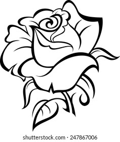 Outline rose silhouette with leaves. Vector tattoo illustration.