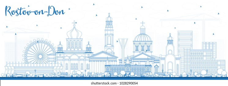Outline Rostov-on-Don Russia City Skyline with Blue Buildings. Vector Illustration. Business Travel and Tourism Concept with Modern Architecture. Rostov-on-Don Cityscape with Landmarks.