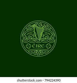 Outline round badge with harp, shamrock leaves, floral ornament. Vector illustration.
