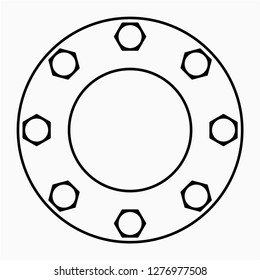 Outline round flange vector icon