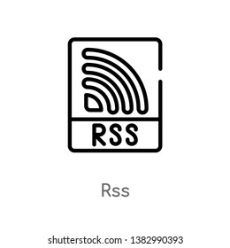 outline rss vector icon. isolated black simple line element illustration from marketing concept. editable vector stroke rss icon on white background