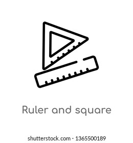outline ruler and square measuring tools vector icon. isolated black simple line element illustration from miscellaneous concept. editable vector stroke ruler and square measuring tools icon on