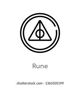 outline rune vector icon. isolated black simple line element illustration from miscellaneous concept. editable vector stroke rune icon on white background