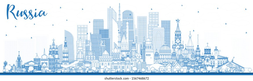 Outline Russia City Skyline with Blue Buildings. Vector Illustration. Tourism Concept with Historic Architecture. Russia Cityscape with Landmarks. Moscow. Saint Petersburg. Yekaterinburg.